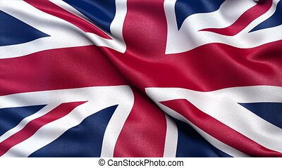 Seamless UK flag in the wind - Realistic flag of the United...