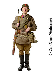 Soviet soldier in 1941 on the white background
