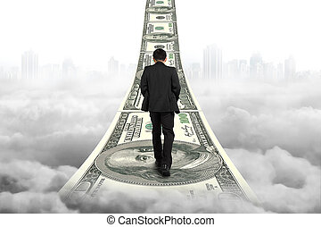 Businessman walking on the money stairs with gray cityscape...