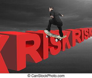 Businessman skating on money skateboard across red risk 3D...