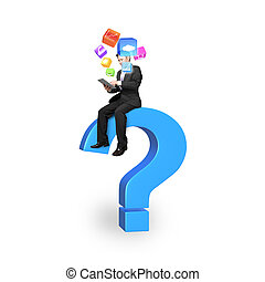 Businessman using tablet on blue question mark with app icons