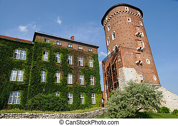 Tower in Wawel hill in Krakow from Poland