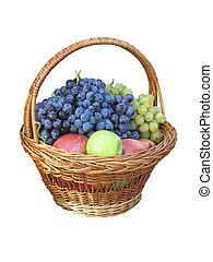 Fresh juise fruits in wicker basket isolated on white
