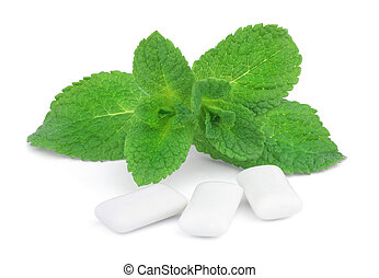 Mint and chewing gum - This is a sprig of mint and three...
