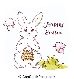 Happy Easter vector illustration with white Easter rabbit -...
