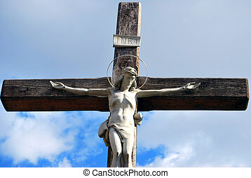 Jesus Christ Crusifix Monument In Blue Sky, Kharkiv, Ukraine