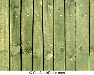 Green Wood Fence - Painted green wood planks fence...