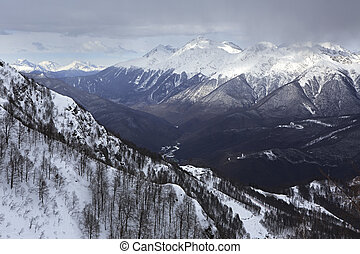 Beautiful snow-capped peaks of the Caucasus Mountains Rosa...