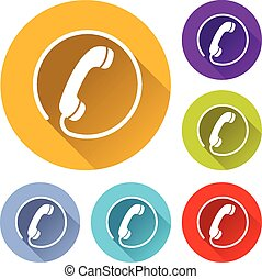 phone icons - vector illustration of six colorful phone...