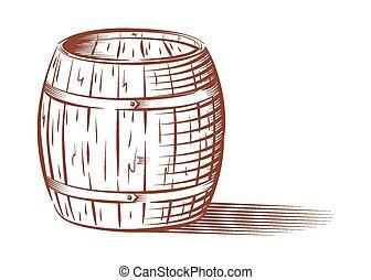 Vector beer or wine barrel - Vector engraved beer or wine...