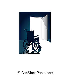 Wheelchair - Open door with an empty wheel chair, vector...
