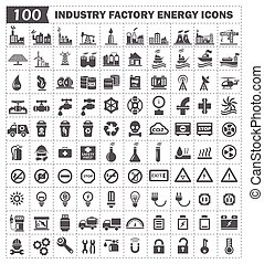 Icon - 100 icon vector, industry factory energy