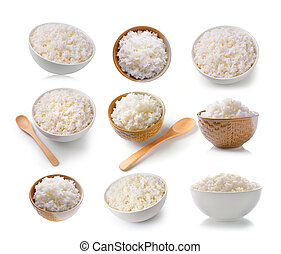 set of Rice in a bowl on a white background