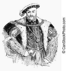 Henry VIII - An engraved illustration portrait image of the...