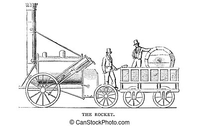 Stephenson's Rocket - An engraved illustration image of...
