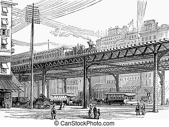 Elevated railway, New York - An engraved illustration image...