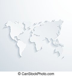 Vector modern map with long shadow. Light background