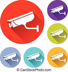 video surveillance icons - vector illustration of six...