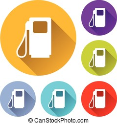 fuel pump icons - vector illustration of six colorful fuel...