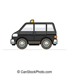 Taxi Car - Black Taxi Cartoon Icon on White Background...