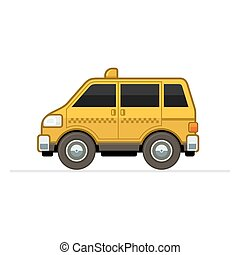 Taxi Car - Yellow Taxi Cartoon Icon on White Background...