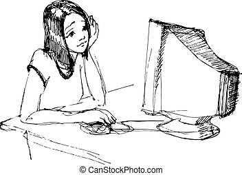 young girl in front of a monitor with a mouse - vector...