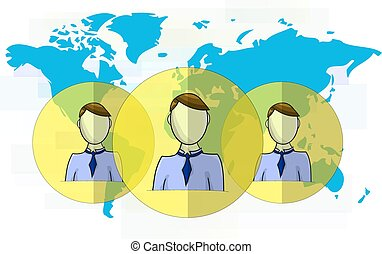 Illustration of social media heads with world map