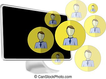 Illustration of social media heads with computer