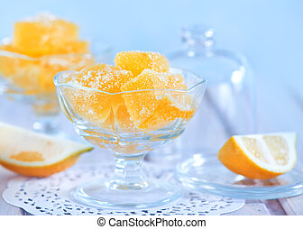 marmalade in bowl and on a table
