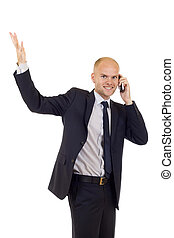 calling with cellphone and gesturing success - young...