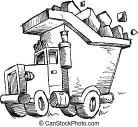 Doodle Sketch Dump Truck Vector - Doodle Sketch Dump Truck...