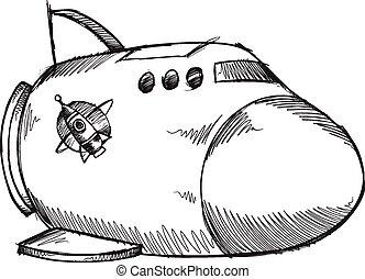 Doodle Sketch Spaceship  vector