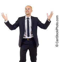 energetic businessman with his arms raised - One very happy...