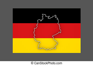 Three-dimensional map of Germany.