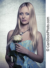 blonde girl with rose