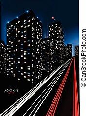 City at Night Illustration