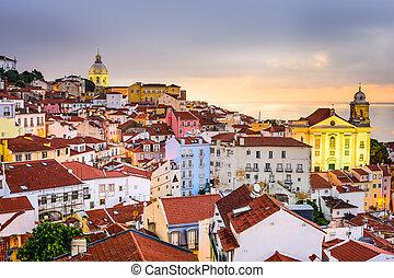 Alfama, Lisbon, Portugal Cityscape - Lisbon, Portugal...