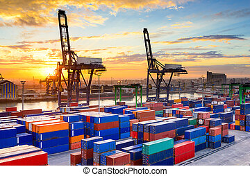 Port in Morocco - Industrial port at dawn at the Port of...