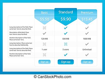 Light pricing table with 3 options and one recommended plan...