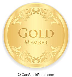 Gold member badge with golden vintage pattern - Golden...