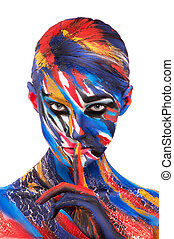 color creative body art makeup beautiful bright color...
