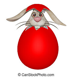 Funny cartoon Easter bunny in the eggshell