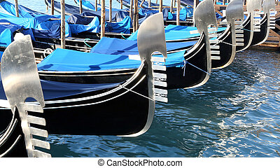gondolas near St Marks square in Venice - moored gondolas...