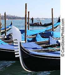 moored gondolas near St Marks square in Venice