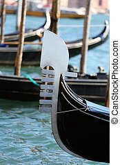 moored gondola near St Marks square in Venice Italy