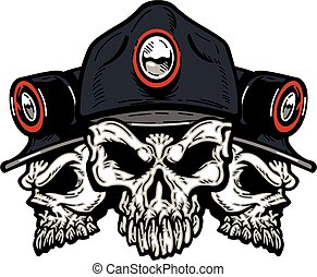 coal miner skulls - three coal miner skulls