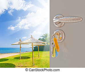 door open sea beach grass green - open the door with the key...