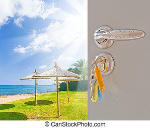 door open sea beach grass green - open the door with the key...