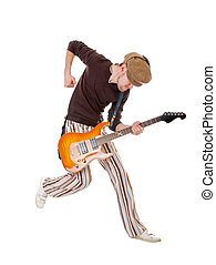 Excited guitarist - Cool guitarist jumping high isolated on...