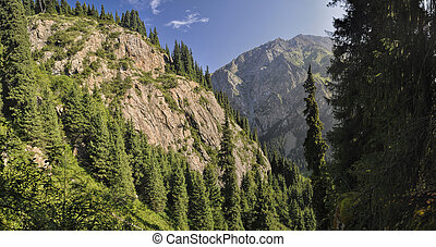 Kyrgyzstan - Scenic panorama of picturesque mountains in...
